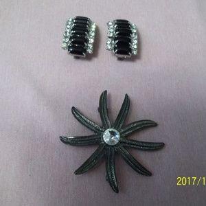 Jewelry - Vintage Black and Rhinestone Brooch & Earrinings